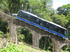 This is the funicular train. For $10, you can zoom right up Penang Hill and skip the 3-hour hike. We choose the hike and the $5 trip down the hill. This is a huge hit with Malaysians.