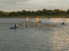 Several kayakers manned the area to successfully make sure no one drowned. Unlike other swimming events I'm been in, you were actually allowed floatation devices and could hang on to the kayaks for a break without being disqualified.